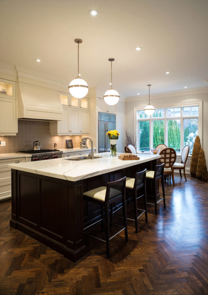 wood floors in kitchen with white cabinets | roselawnlutheran