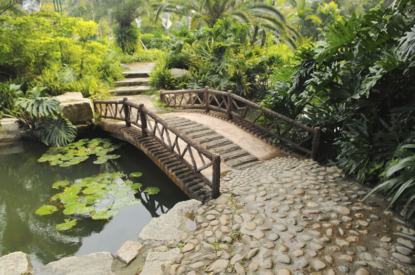 49 backyard garden bridge ideas and designs photos. Black Bedroom Furniture Sets. Home Design Ideas
