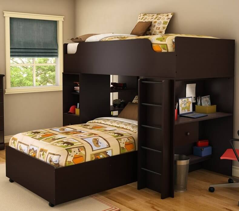 this sleek and modern bed features a perpendicular aligned lower twin bed beneath rich dark