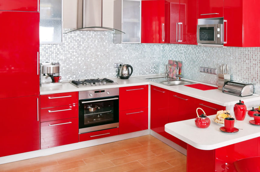 Good This High Energy Kitchen Features An Exceptionally Bright Hue Of Red On All  Cabinetry, Great Pictures