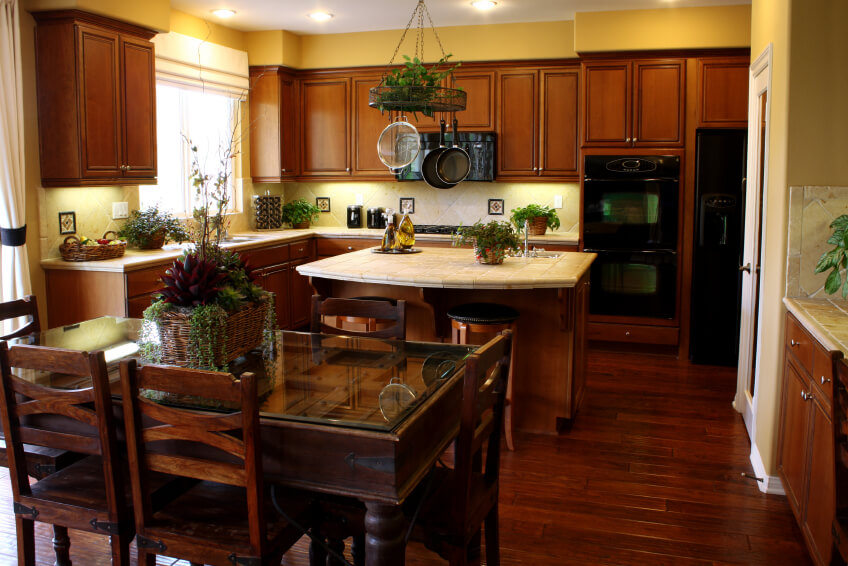 Kitchens With Dark Wood Cabinets And White Appliances