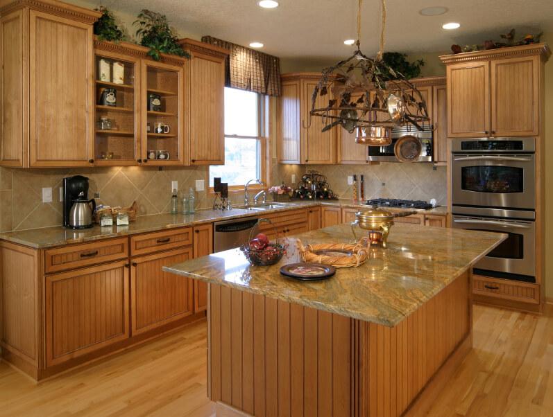 Honey Oak Kitchen Island