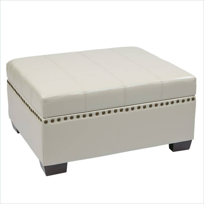an ottoman in easy clean ecoleather that doubles as a coffee table and a storage bin this piece boasts sturdy solid wood legs and slamproof hinges and a