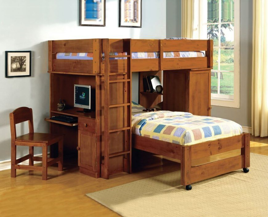 Dark walnut bunk bed with computer desk.