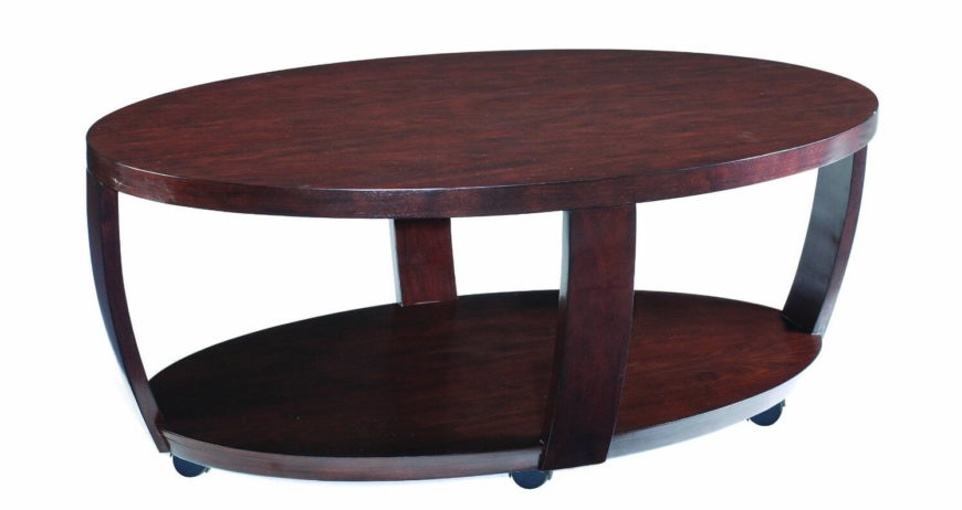 This Rich Hued Coffee Table Stands On A Set Of Dark Casters For Mobility.  The