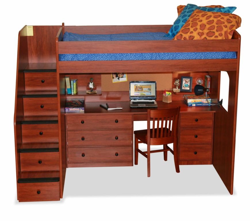 This Rich Toned Wood Bed Features A Lavish Desk Below The Bed, With Drawer