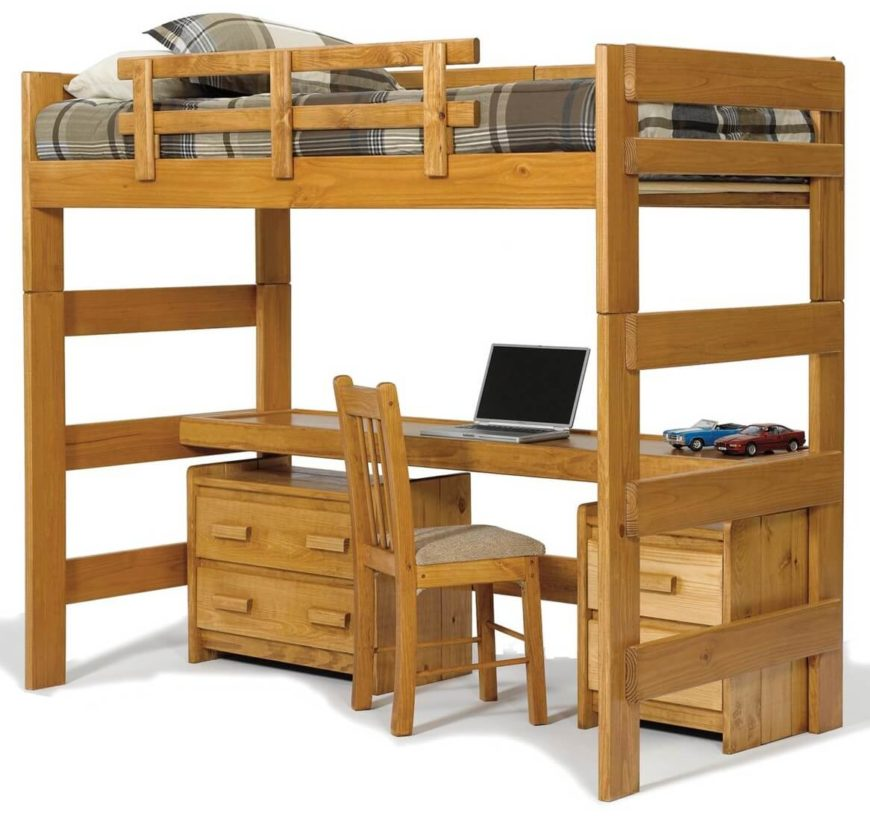 This rich natural wood bed features a single bunk above a lengthy desk ...