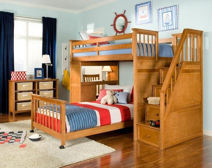 Here we have an elegant  natural wood bed with a set of stairs to the. 25 Awesome Bunk Beds With Desks  Perfect for Kids