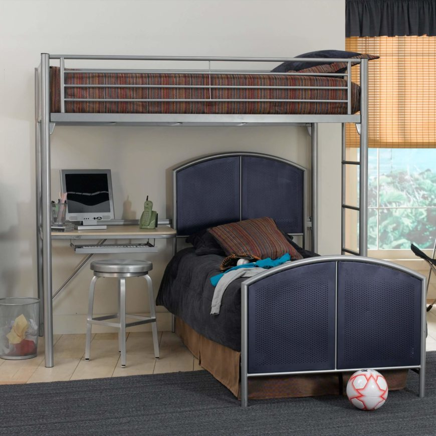 This light metal framed bed features a slim but deep desk below the upper bunk, with a perpendicularly mounted lower twin bed.