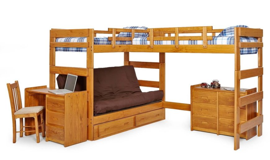Twin Junior Loft Bed With Slide And Curtains