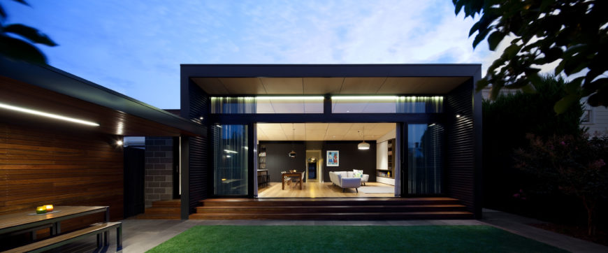 Luscious exterior shot of this home at dusk.