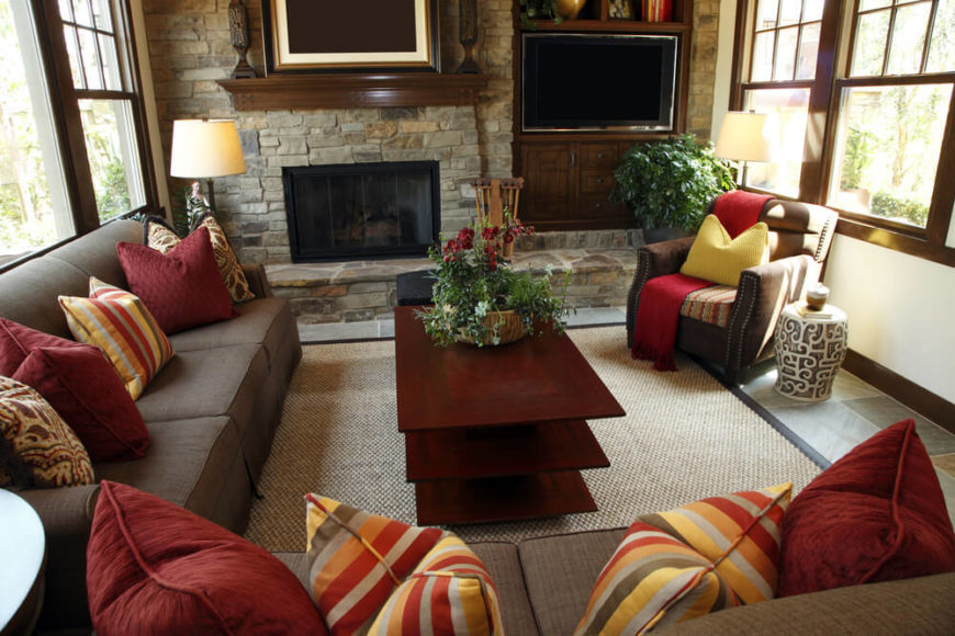 Living Room Design With Stone Fireplace 25 cozy living rooms with fireplaces | home stratosphere