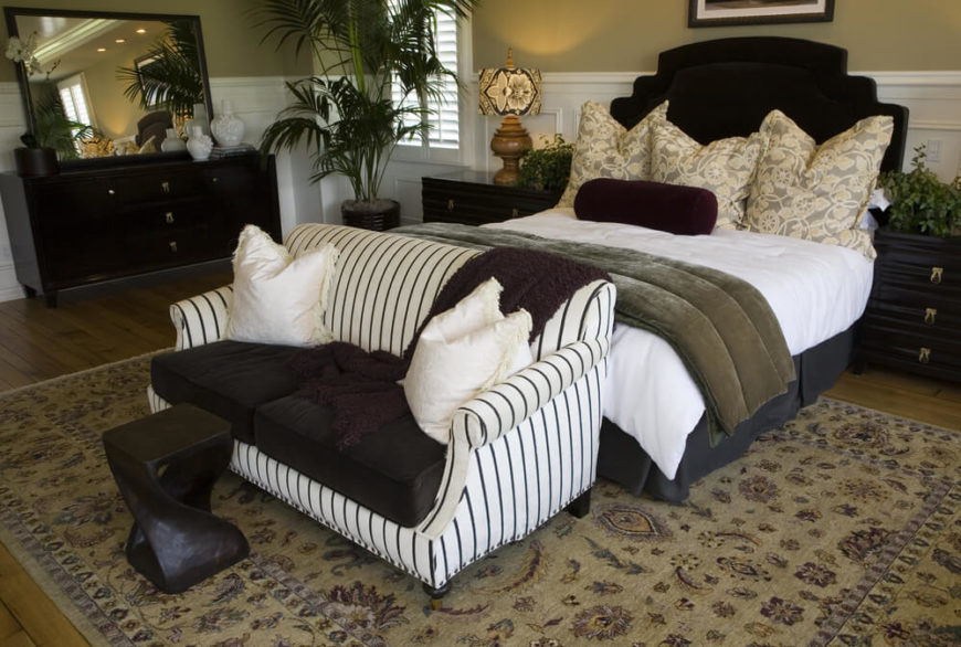 Like the above bedroom  this one places the loveseat at the foot of the bed. 21 Stunning Master Bedrooms with Couches or Loveseats