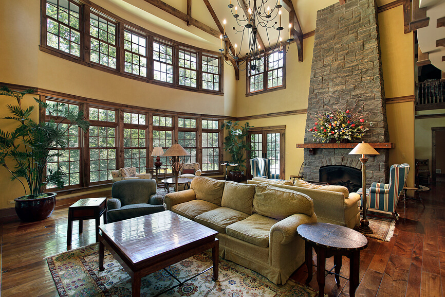 This cavernous living room is split into two different living room areas   each with a25 Cozy Living Rooms with Fireplaces. Great Room With Fireplace. Home Design Ideas