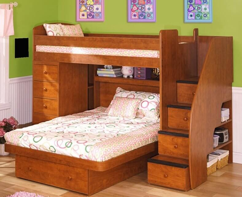 here we have another bunk bed frame with perpendicularly mounted lower bed featuring a large