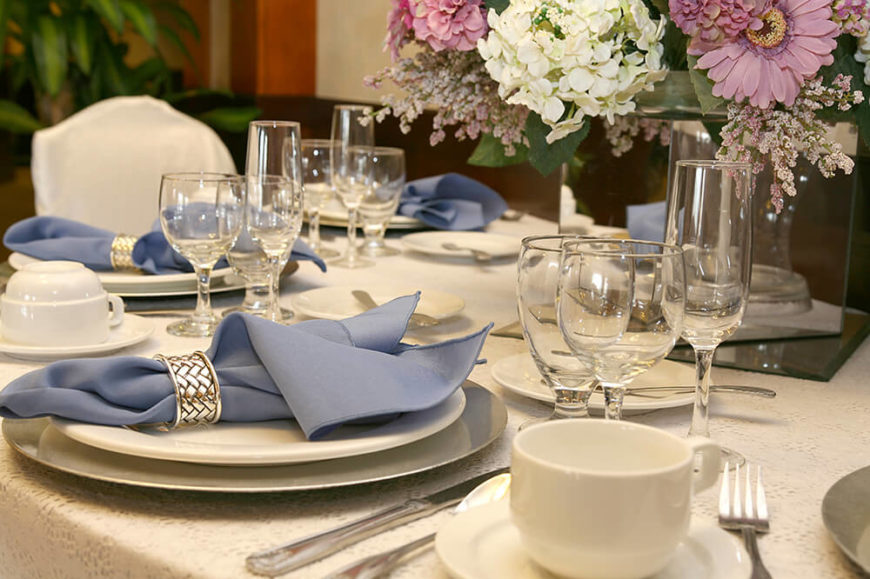 Banquet Table Setting Part - 29: Simple White Place Setting With Three Wine Glasses And A Coffee Cup On A  Eyelet Lace