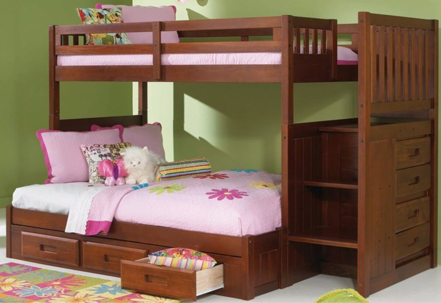 This elegant, dark stained wood bunk bed frame features the familiar built-in dresser on the side, placed beneath the stairs. Extra drawer storage sits below the lower, larger bunk.