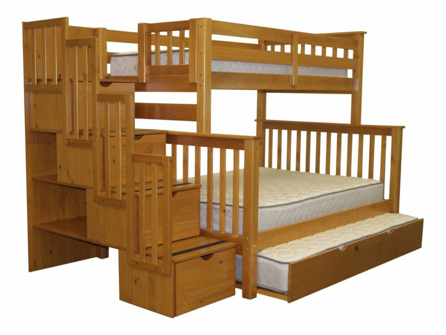 this rustic styled natural wood bunk bed frame sports a third trundle style bed