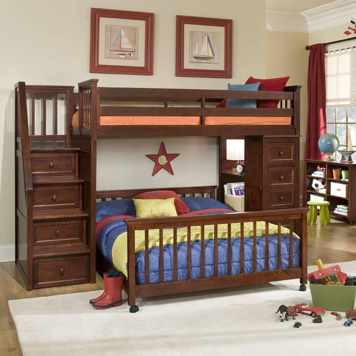 this immense dark stained wood frame bunk bed features the perpendicular lower bunk design built