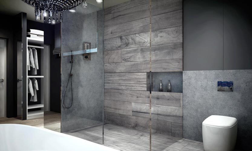 Shower Is Encased In Glass And Features Gray Tile And Faux Wood Tile