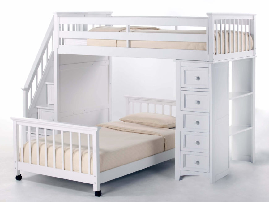 this bright white painted wood frame bunk bed features a movable lower bunk set perpendicularly below