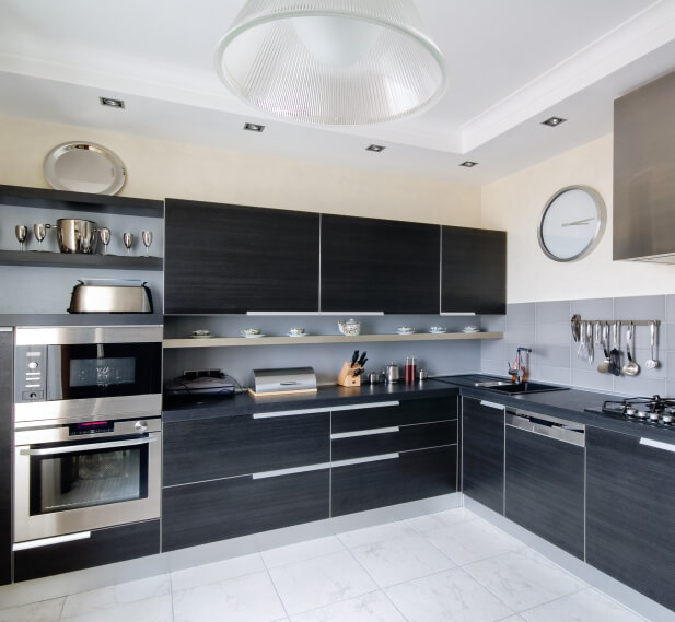 Kitchen Cabinets Tiled Floor