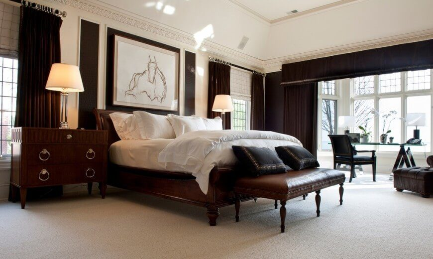 19 jaw dropping bedrooms with dark furniture designs for Bedroom designs with dark wood furniture