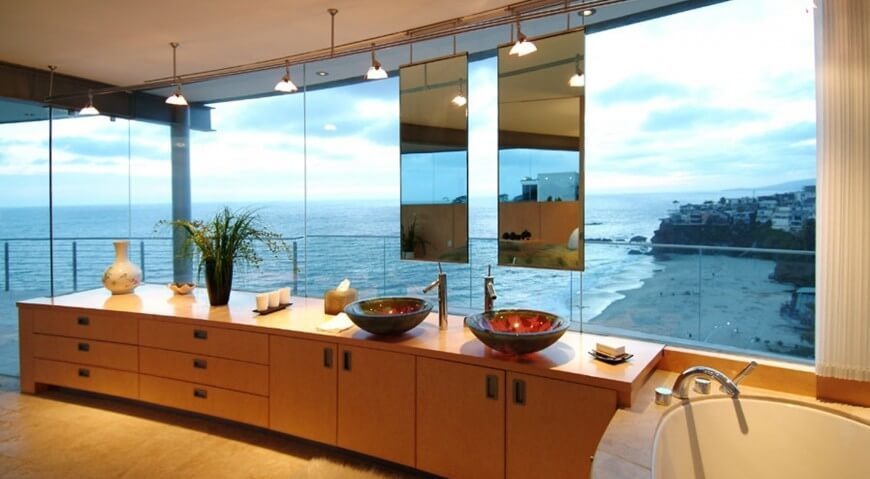 This Modern Bathroom Hosts Expansive Ocean Views And Minimalist Design
