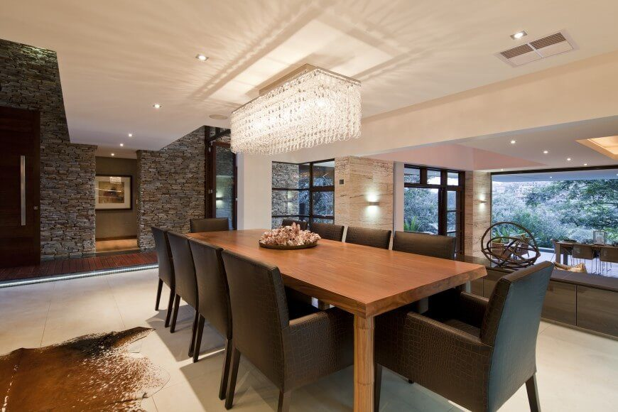 This Outstanding Dining Area Features A Simple Wood Table With Deep Chocolate Snake Skin Textured