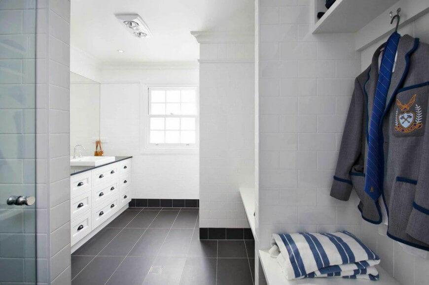 White Subway Tile Bathroom Dark Floor - Image Bathroom 2017