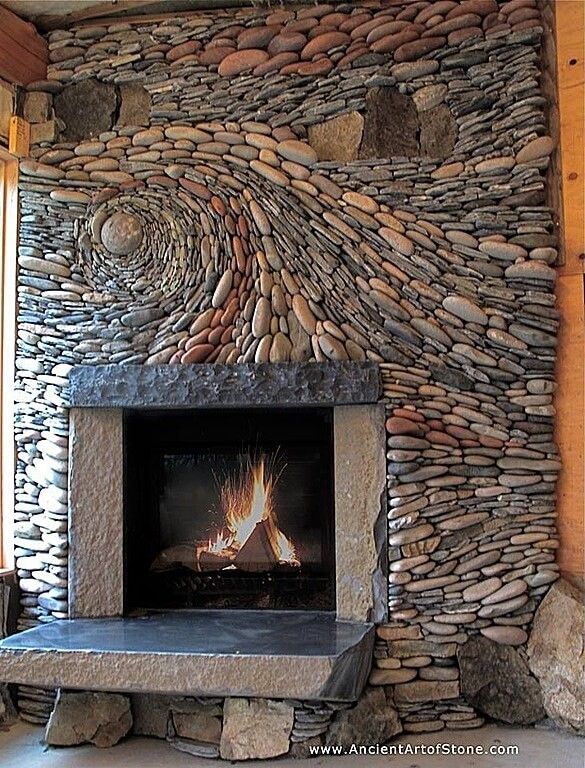 Stone Accent Wall Living Room With Wood Accents