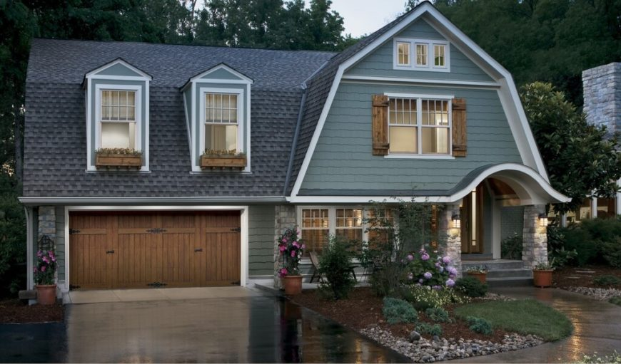 These modernized cedar shingles look perfect on this cottage! They are very smooth and a rich dark gray color.