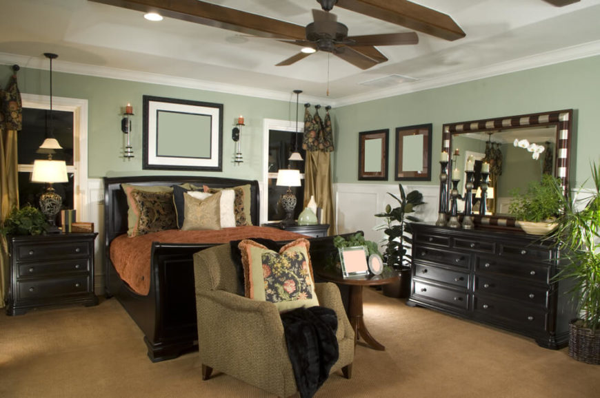 Sages And Beiges Are Popular Color Choices For Bedrooms With Darker Furniture And