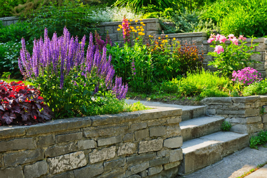 Cracked, Old Brick Walls Contrast The Bright Riot Of Flowers In This Beautiful  Garden. Part 24