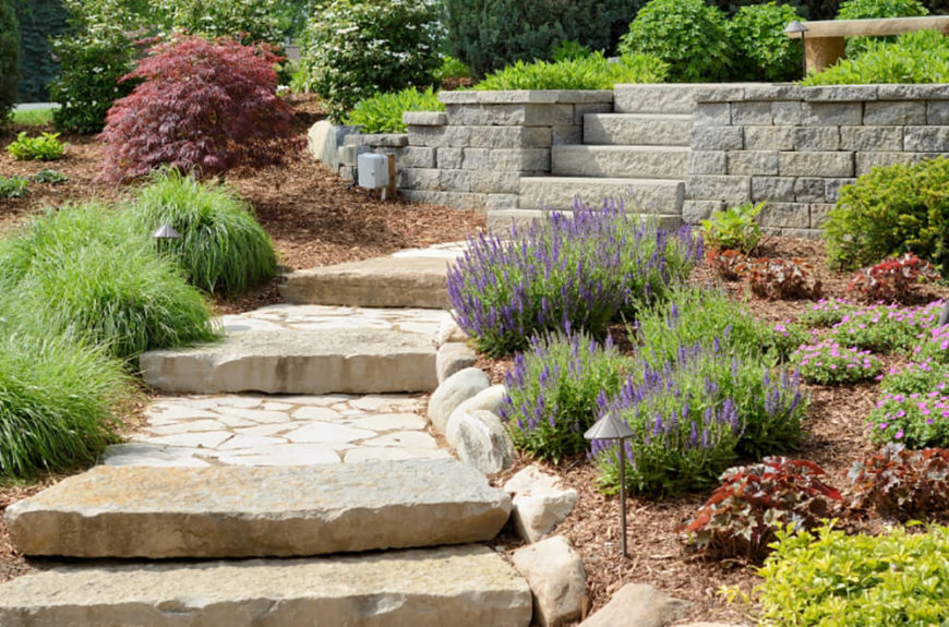 Backyard Landscaping Ideas With Stones best 20 river rock landscaping ideas on pinterest rock flower beds stone landscaping and front yard ideas While The Plants Are Sparingly Placed They Accent This Winding Pathway Well Leading Up To