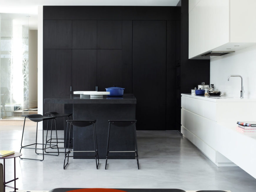 Dark Charcoal Kitchen Cabints Dark Floor