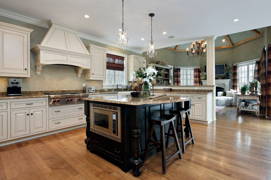 within this sprawling open plan kitchen the island stands in sharp contrast - Granite Kitchen Island Table