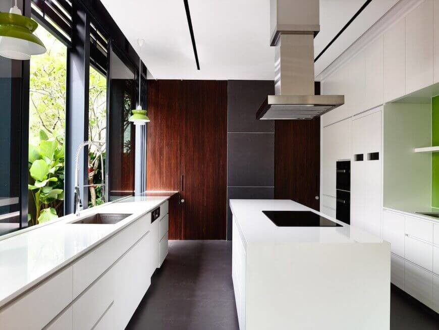 Charcoal Kitchen Wall Brown Cabinets