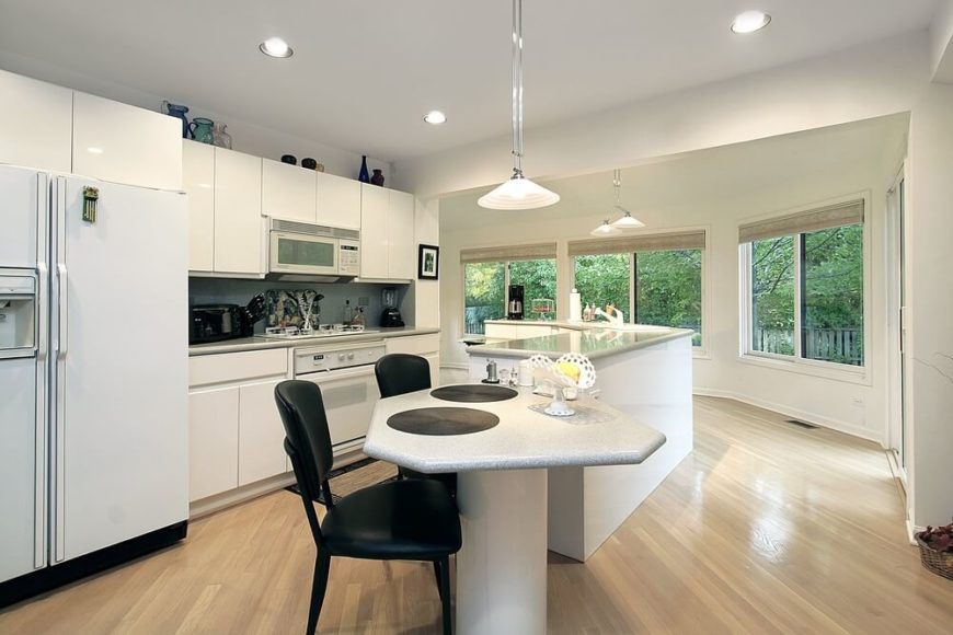 kitchen we see a unique take on island design the l shaped island