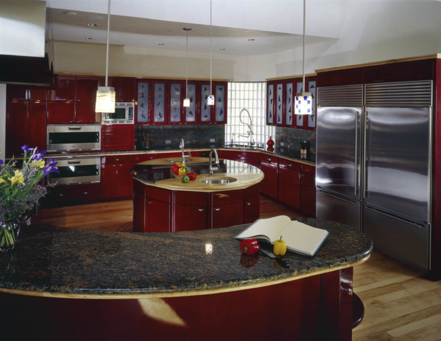 84 custom luxury kitchen island ideas designs pictures for Red kitchen designs photo gallery