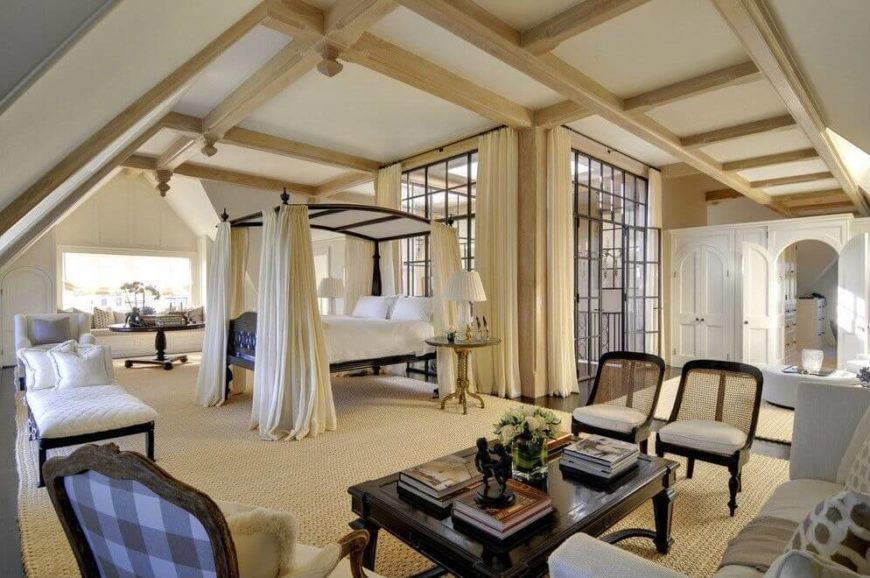 the sheer enormity of this master suite is awe inspiring exposed beams throughout add - Large Canopy 2015