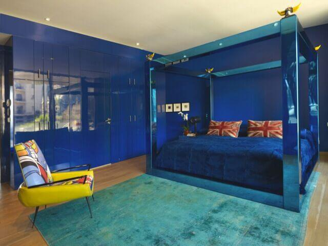 bold color and texture are the focal points of this eclectic bedroom the light blue - Eclectic Canopy 2015