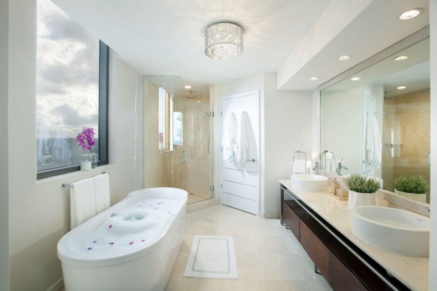 here we can see a beautiful bathroom with a soaking tub by the window the. Interior Design Ideas. Home Design Ideas