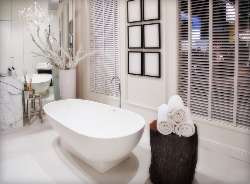 this modern styled bathroom has a polished and seamless freestanding tub a tree stump makes - Bathroom Designs With Freestanding Tubs