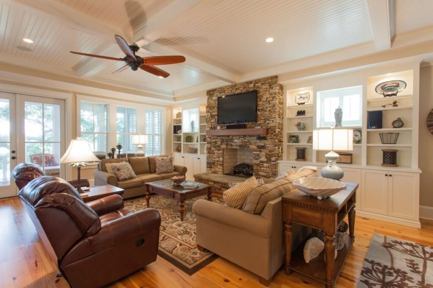 This Ceiling Fan Offsets The White And Accents Warm Brown Tones Of Room