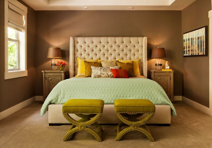 This Cozy Bedroom Utilizes Thick Textures And Bright Colors To Counter The  Warm Tones Of The