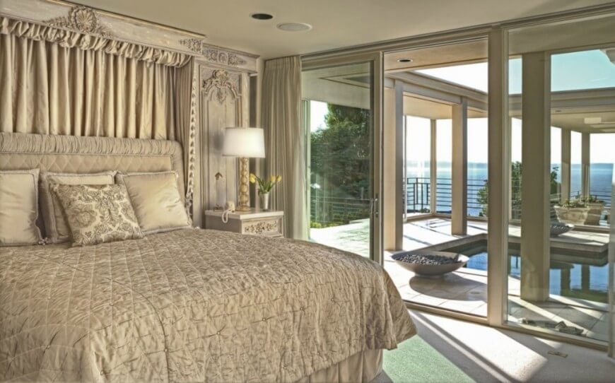 Master Bedroom Looks Part - 36: This Opulent Bedroom Looks Out Over A Small Pool Area And Deck Beyond. Rich  Textures