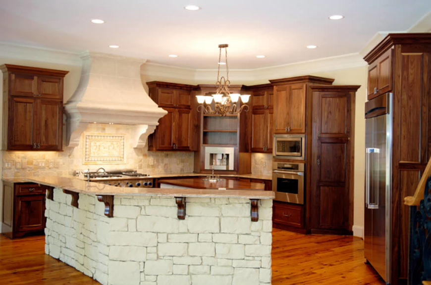Rustic Cottage Kitchen Ideas Part - 33: The Lovely Rich Wood Of This Kitchen Is Offset By The Use Of Light Tile Work