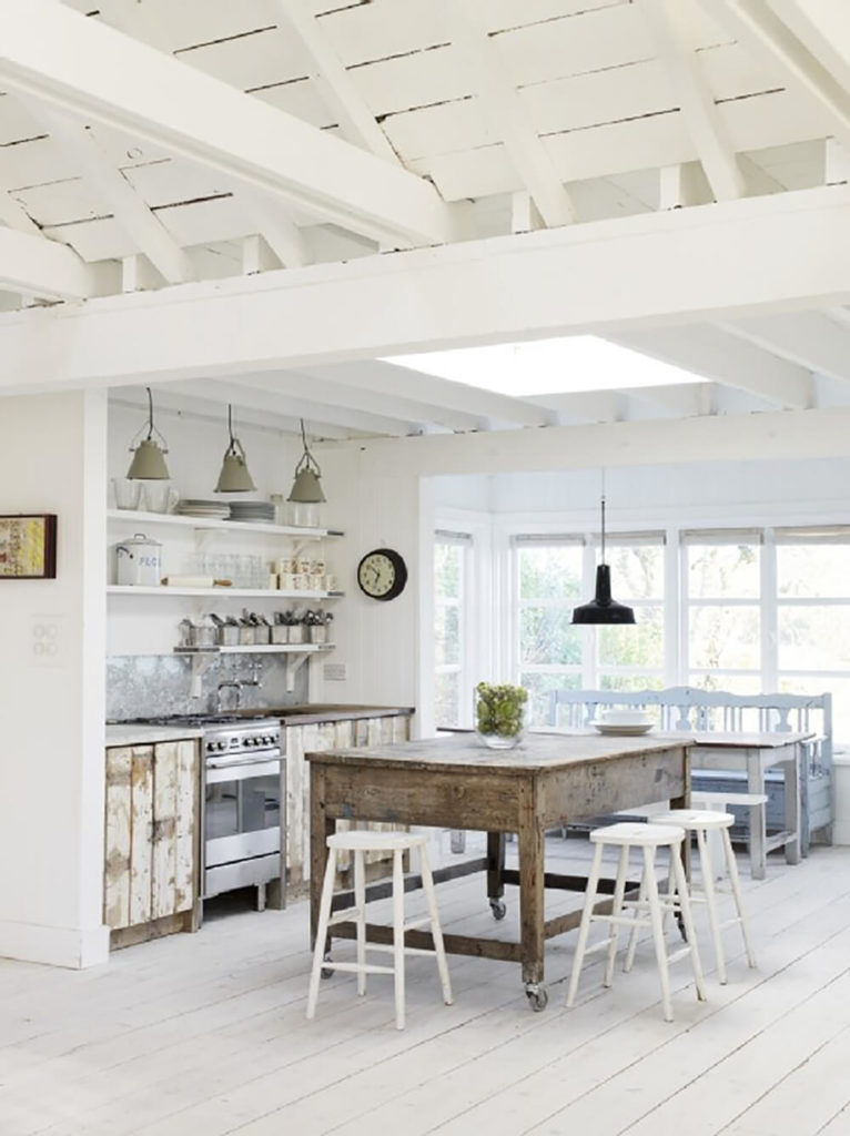 Speaking Of White This Truly Rustic Cottage Chic Kitchen Balances The Use