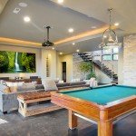 Spacious man cave with entertainment area and billiards table